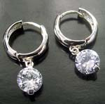 Trade leader China importers wholesale lever back silver clear cz earring