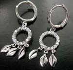 China jewelry wholesaler wholealer indian fashion dangle clear cz ring holding leafs sterling silver lever back earring