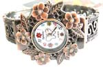 Fresh look trendy China wholesaler supply bronze forest look butterfly bangle watch