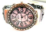 Lady's fahsion watch online China company supply pinky marble macasite stone bronze bangle watch