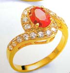 Cubic Zironia lover wholesale China import enlarge red cz with clear cz out layer ring