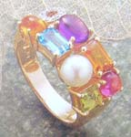 Searching China wholesaler online wholesale multi precious gemstone and pearl gold ring