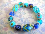 Hand painting China handicraft manufacture supplie supply lampwork blue beaded and bali beads bracelet