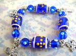 Painting art jewelry wholesale lampwork deep blue charm bracelet
