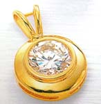Online shopping wholesale China supplier product round shape embedded clear cz pendant