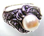 Promise wedding gift shop online supply engraved thick band ring with large white pearl