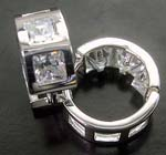 Buy earring quality store wholesale China jewelry coaster square frame clear cz hoop earring